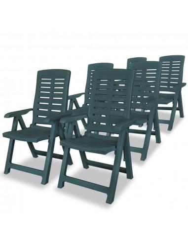 Atlošiamos sodo kėdės, 6vnt., 60x61x108cm, plastikas, žalia sp.   Lauko Kėdės   duodu.lt