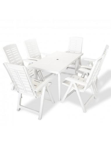 Lauko valgomojo baldų komplektas, 7d., 126x76x72cm, baltas   Lauko Baldų Komplektai   duodu.lt