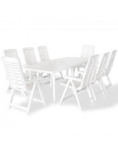 Lauko valgomojo baldų komplektas, 9d., 210x96x72cm, baltas | Lauko Baldų Komplektai | duodu.lt