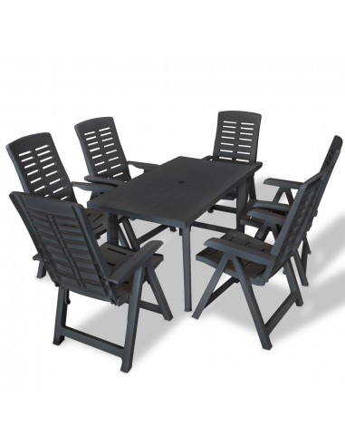 Lauko valgomojo baldų kompl., 7d., 126x76x72cm, antracito sp. | Lauko Baldų Komplektai | duodu.lt