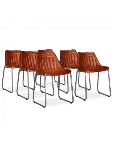 Valgomojo kėdės, 6 vnt., tikra oda su juostelėmis, rudos | Virtuvės ir Valgomojo Kėdės | duodu.lt