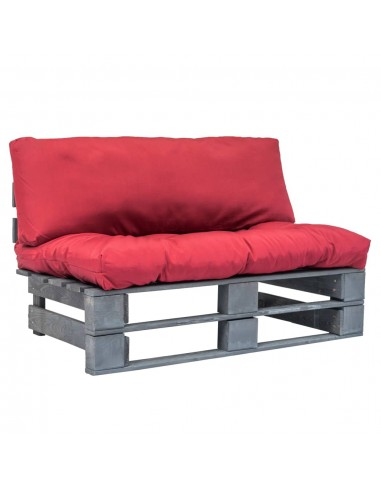 Sodo sofa iš palečių su raud. sp. pagalvėlėmis, FSC pušies med.   Lauko Sofos   duodu.lt