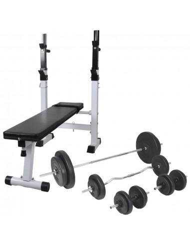 Tren. suoliukas su svarm. stovu, štang. ir hantel. rink., 90kg | Svorių Kėlimo Įranga ir Skersiniai | duodu.lt