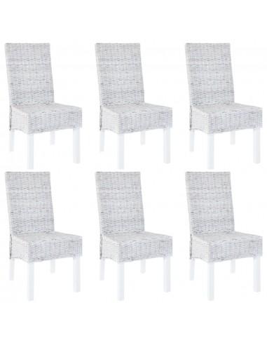 Valgomojo kėdės, 6 vnt., Kubu ratanas ir mango mediena, pilkos   Virtuvės ir Valgomojo Kėdės   duodu.lt