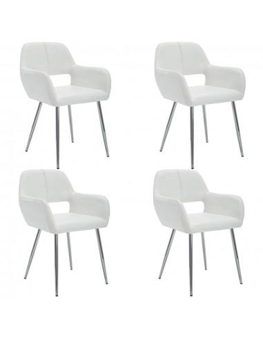 Valgom. kėdės, 4vnt., dirbt. odos apmuš., 57x54x81cm, balt.  | Virtuvės ir Valgomojo Kėdės | duodu.lt