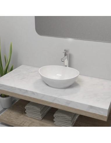 Vonios praustuvas su vandens maišytuv., keram., oval., baltas  | Vonios praustuvai | duodu.lt