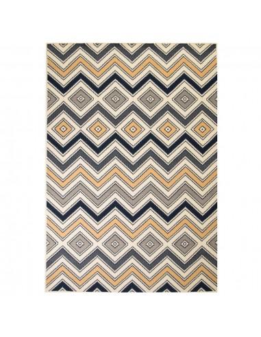 Modernus kilimas, zigzagų raštas, 160x230cm, rudas/juodas/mėl.   Kilimėliai   duodu.lt