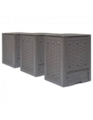 Sodo komposto dėžės, 3vnt., rudos spalvos, 60x60x83cm, 900l   Komposteriai   duodu.lt