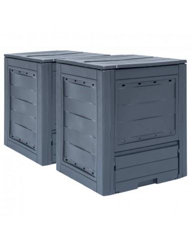 Sodo komposto dėžės, 2vnt., pilkos spalvos, 60x60x73cm, 520l   Komposteriai   duodu.lt