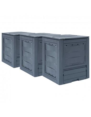 Sodo komposto dėžės, 3vnt., pilkos spalvos, 60x60x73cm, 780l   Komposteriai   duodu.lt